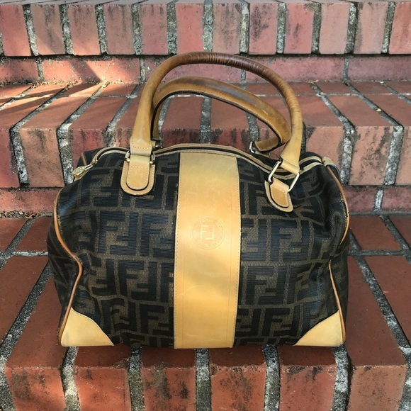 7518687302 Fendi Handbags - Vintage Fendi Zucca Print Canvas   Leather Handbag